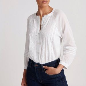 Lucky Brand White Embroidered 3/4 Sleeve Top